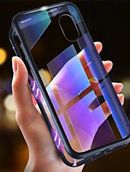 Недорогие -Кейс для Назначение Apple iPhone XS / iPhone XR / iPhone XS Max Ультратонкий / Прозрачный / Магнитный Чехол Однотонный Твердый Закаленное стекло / Металл