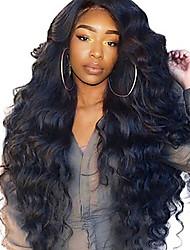 Недорогие -Натуральные волосы Лента спереди Парик Боковая часть стиль Бразильские волосы Волнистый Естественные кудри Нейтральный Парик 250% Плотность волос / Природные волосы / Отбеленные узлы