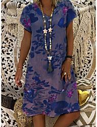 povoljno -Žene Osnovni A kroj Haljina - Print, Cvjetni print Do koljena