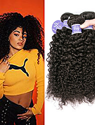 cheap -3 Bundles Indian Hair Kinky Curly Virgin Human Hair 100% Remy Hair Weave Bundles Natural Color Hair Weaves / Hair Bulk Bundle Hair Human Hair Extensions 8-28 inch Natural Human Hair Weaves Extender