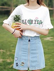 voordelige -Dames T-shirt Effen Wit L