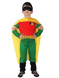 preiswerte -Superheld Cosplay Kostüme Umhang Kinder Jungen Cosplay Halloween Halloween Karneval Maskerade Fest / Feiertage Polyester Grün Karneval Kostüme Patchwork Print