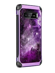 olcso -BENTOBEN Case Kompatibilitás Samsung Galaxy Galaxy S10 Plus Ütésálló / Galvanizálás / Minta Fekete tok Látvány Kemény PU bőr / TPU / PC mert Galaxy S10 Plus