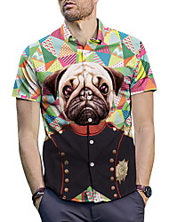 お買い得  -男性用 シャツ 動物 グリーン L
