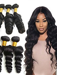 cheap -6 Bundles Brazilian Hair Loose Wave 100% Remy Hair Weave Bundles Natural Color Hair Weaves / Hair Bulk Bundle Hair One Pack Solution 8-28 inch Natural Color Human Hair Weaves Fashionable Design Best