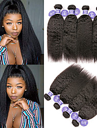 お買い得  -6バンドル インディアンヘア ストレート 未処理人毛 100%レミヘアウィッグバンドル 人間の髪編む バンドル髪 ワンパックソリューション 8-28 インチ ナチュラル 人間の髪織り 無臭 ソフト 100% バージン 人間の髪の拡張機能 女性用