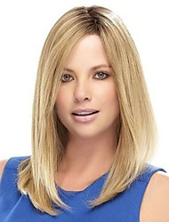 cheap -Synthetic Wig / Bangs Natural Straight Style Side Part Capless Wig Light Brown Light Brown Synthetic Hair 16 inch Women's Fashionable Design / Women / Synthetic Light Brown Wig Medium Length Natural