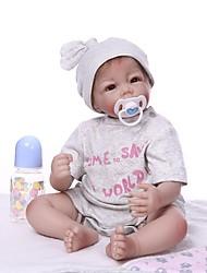 Недорогие -NPKCOLLECTION Куклы реборн Мальчики 22 дюймовый Винил - как живой Очаровательный Искусственная имплантация Коричневые глаза Детские Универсальные Игрушки Подарок