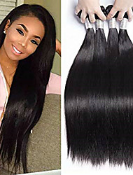 cheap -4 Bundles Brazilian Hair Natural Straight Remy Human Hair Natural Color Hair Weaves / Hair Bulk Extension Bundle Hair 8-28inch Natural Color Human Hair Weaves Cosplay Soft Dancing Human Hair