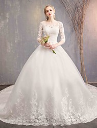 3542e56c7b Ball Gown Jewel Neck Chapel Train Tulle / Lace Over Satin Made-To-Measure Wedding  Dresses with Appliques / Lace by LAN TING Express / Bell Sleeve