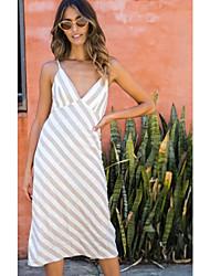저렴한 -여성용 우아함 트럼펫 / 머메이드 드레스 - 줄무늬 미디