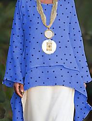 baratos -Mulheres Camisa Social Poá Azul L