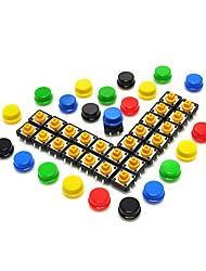 Недорогие -12 * 12 * 7.3мм тактичный тактильный кнопочный мгновенный переключатель печатной платы smd с крышкой для arduino (упаковка по 25 шт.)