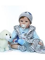 Недорогие -NPKCOLLECTION Куклы реборн Мальчики 24 дюймовый Винил - Подарок Ручная работа Искусственные имплантации Голубые глаза Детские Универсальные Игрушки Подарок