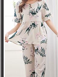 abordables -Col Arrondi Costumes Pyjamas Femme Couleur Pleine