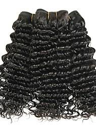 baratos -3 pacotes Cabelo Indiano Onda Profunda Cabelo Natural Remy Peça para Cabeça Cabelo Humano Ondulado Extensor 8-28 polegada Côr Natural Tramas de cabelo humano Macio Fashion Grossa Extensões de cabelo