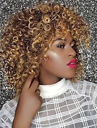 Χαμηλού Κόστους -Συνθετικές Περούκες Σγουρά / Afro Kinky Στυλ Με αφέλειες Χωρίς κάλυμμα Περούκα Χρυσό Φράουλα Ξανθιά / Medium Auburn Συνθετικά μαλλιά 14 inch Γυναικεία συνθετικός / Άνετο / Περούκα αφροαμερικανικό στυλ