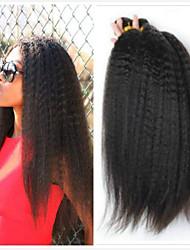Недорогие -4 Связки Бразильские волосы Естественные прямые Необработанные натуральные волосы Человека ткет Волосы Пучок волос Накладки из натуральных волос 8-28 дюймовый Естественный цвет Ткет человеческих волос