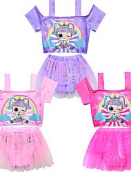 ราคาถูก -ชุดว่ายน้ำ ชุดว่ายน้ำชุดคอสเพลย์ สาวบี สำหรับเด็ก คอสเพลย์และคอสตูม คอสเพลย์ วันฮาโลวีน สีม่วง / สีบานเย็น / สีชมพู Printing ตูเล่ Polyster เด็กผู้หญิง วันคริสต์มาส วันฮาโลวีน เทศกาลคานาวาล / Top