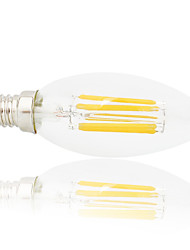 ieftine -6 W Bec Filet LED 560 lm E14 C35 6 LED-uri de margele COB Petrecere Decorativ Crăciun decor de nunta Alb Cald Alb Rece 220-240 V, 1 buc