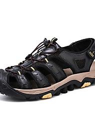 hesapli -Erkek Ayakkabı Nappa Leather İlkbahar yaz Klasik / Günlük Sandaletler Günlük / Dış mekan için Siyah / Kahverengi