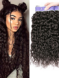 cheap -3 Bundles Brazilian Hair Water Wave Unprocessed Human Hair 100% Remy Hair Weave Bundles Headpiece Natural Color Hair Weaves / Hair Bulk Bundle Hair 8-28 inch Natural Human Hair Weaves Odor Free Soft
