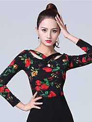 cheap -Ballroom Dance Tops Women's Performance Ice Silk Pattern / Print / Ruching Long Sleeve Top