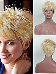 billige -Human Hair Capless Parykker Menneskehår Lige / Naturlig lige Pixie frisure / Frisure i lag / Assymetrisk frisure Moderigtigt Design / Justerbar / Varme resistent Blond Kort Lågløs Paryk Dame