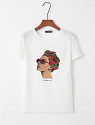 billige -T-skjorte Dame - Portrett, Trykt mønster Hvit L