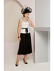 رخيصةأون -قطعتين جوهرة طول الركبة شيفون فستان أم العروس مع شريط و شاح بواسطة LAN TING BRIDE®