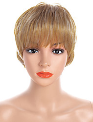 cheap -Synthetic Wig / Bangs Natural Straight Style Free Part Capless Wig Golden Light golden Synthetic Hair 12 inch Women's Fashionable Design / Women / Synthetic Golden Wig Short Natural Wigs