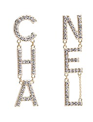 cheap -Women's Silver Gold Drop Earrings Gold Plated Imitation Diamond Earrings Alphabet Shape Letter European Initial Jewelry Gold / Silver For Daily 1 Pair