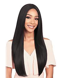 abordables -Pelucas sintéticas Liso Natural Estilo Parte media Sin Tapa Peluca Negro Negro Pelo sintético 26 pulgada Mujer Mujer Negro Peluca Larga Peluca natural