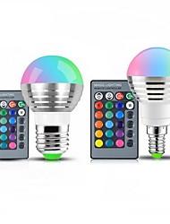 זול -1pc 3 W 250 lm E14 E26 / E27 נורות גלוב לד 1 LED חרוזים SMD Spottivalo עובד עם שלט רחוק דקורטיבי RGB 85-265 V