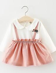 זול -שמלה שרוול ארוך קולור בלוק בנות פעוטות
