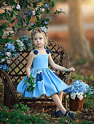 hesapli -Toddler Genç Kız Tatlı / Boho Solid / Çiçekli Dantel / Bağcık Kolsuz Diz üstü Pamuklu / Polyester Elbise Açık Mavi