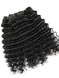 halpa -4 pakettia Mongolialainen Syvät aallot Käsittelemätön aitoa hiusta Hiukset kutoo Bundle Hair Aitohiuspidennykset 8-28inch Luonnollinen väri Hiukset kutoo Hajuton Pehmeä Party Hiukset Extensions