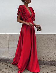 preiswerte -A-Linie Tiefer Ausschnitt Boden-Länge Chiffon Kleid mit Kaskaden Rüschen durch LAN TING Express