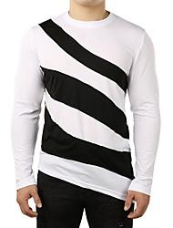 abordables -Hombre Camiseta A Rayas Blanco L