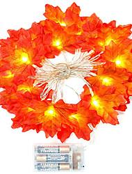 Недорогие -1 компл. 20 светодиодов строка светло-красный кленовый лист реквизит кленовый лист ночной свет благодарения праздник украшения дома аккумулятор коробка