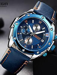 Недорогие -MEGIR Муж. Спортивные часы Авиационные часы Гибридные часы Японский Кварцевый Трехглазый Шести игольный Натуральная кожа Черный / Коричневый / Небесно-голубой 30 m Защита от влаги Календарь Секундомер