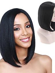 halpa -Synteettiset peruukit Kinky Straight Tyyli Keskiosa Suojuksettomat Peruukki Musta Musta / Sininen Synteettiset hiukset 14 inch Naisten Naisten Musta Peruukki Pitkä Luonnollinen peruukki