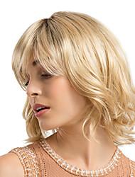 halpa -Synteettiset peruukit / Otsatukat / Ombre Kihara / Bouncy Curl Tyyli Sivuosa Suojuksettomat Peruukki Vaaleahiuksisuus Mansikka Blonde  / Vaalea vaalea Synteettiset hiukset 12 inch Naisten