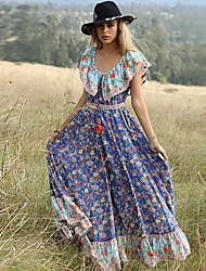baratos -Mulheres Elegante balanço Vestido - Estampado, Floral Longo