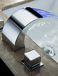 cheap -Bathroom Sink Faucet / Faucet Set - Waterfall Chrome Other Single Handle Three HolesBath Taps
