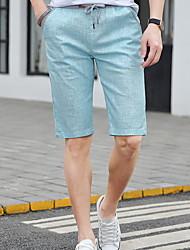 baratos -Homens Básico Shorts Calças - Sólido Azul Claro