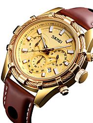 Недорогие -SKMEI Муж. Нарядные часы Японский Кварцевый Нержавеющая сталь Натуральная кожа Черный / Коричневый 30 m Защита от влаги Календарь Хронометр Аналоговый На каждый день На открытом воздухе -