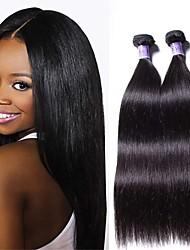 billige -6 Bundler Brasiliansk hår Lige Remy Menneskehår Menneskehår, Bølget Bundle Hair Én Pack Solution 8-28inch Naturlig Farve Menneskehår Vævninger Nyfødt Vandfald Nuttet Menneskehår Extensions Dame