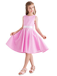 hesapli -Çocuklar Genç Kız Vintage / sevimli Stil Yuvarlak Noktalı Desen Kolsuz Diz-boyu Pamuklu Elbise Doğal Pembe