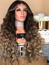 halpa -Synteettiset peruukit Kinky Straight Tyyli Keskiosa Suojuksettomat Peruukki Vaaleahiuksisuus Vaalea kulta Synteettiset hiukset 28 inch Naisten Color Gradient Vaaleahiuksisuus Peruukki Pitkä